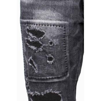 Черни слим фит дънки с кръпки