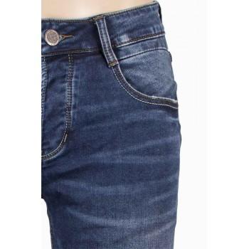 Сини дънки деним с кожена декоративна лента