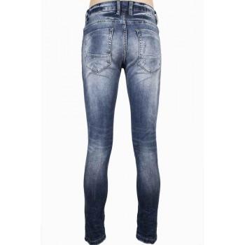 Светло сини дънки със светла кожена лента