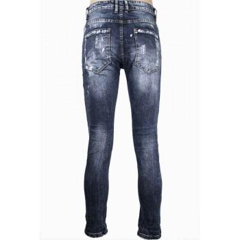 Тъмно сини дънки с бели пръски боя