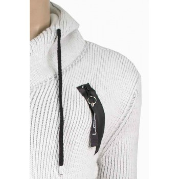 Плътна жилетка с качулка в бял цвят
