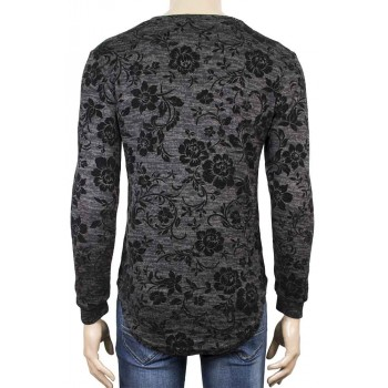 Мъжка блуза с кадифени цветя в черен цвят