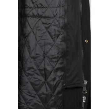 Вталено палто с качулка в черен цвят