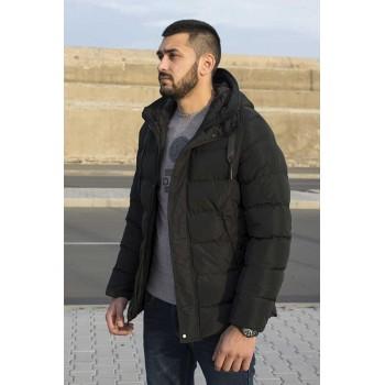 Късо мъжко зимно яке с качулка