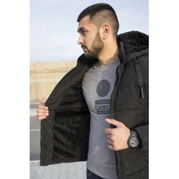 Късо мъжко зимно яке с подплата от каракул