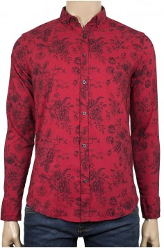 Малиново червена риза слим фит с флорални мотиви