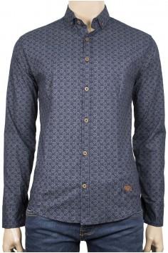 Тъмно синя риза със сиви шарки