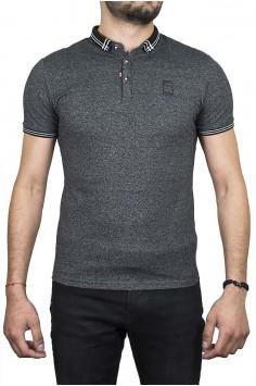 Тъмно сива тениска с якичка и буква R