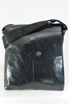 Стилна мъжка чанта от гланцирана естествена кожа