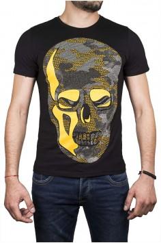 Черен тишърт с череп и жълта кожа