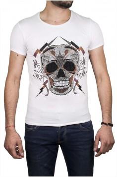 Интересна тениска в бял цвят с плътен принт