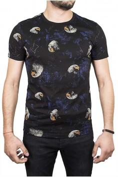 Черна тениска с образ на орел