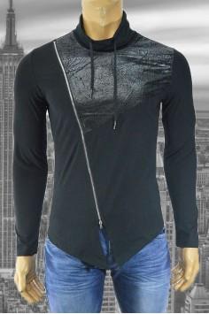 Вталена мъжка асиметрична блуза с кожени елементи