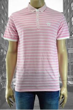 Мъжка тениска с яка и десен на райе в два цвята