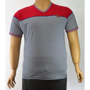 Модерна мъжка тениска с десен на райе (от 3XL до 6XL)