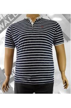 Стилна мъжка тениска с яка и десен на райе (от 3XL до 6XL)