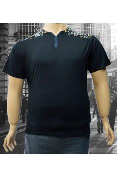 Мъжка тениска с флорални орнаменти върху раменете (от 3XL до 6XL)