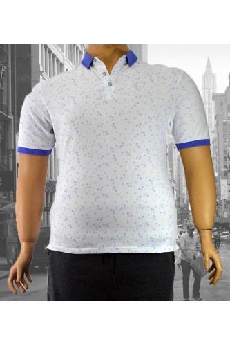 Мъжка тениска с яка в бяло (от 3XL до 5XL)