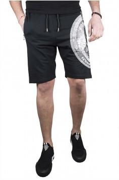Спортни мъжки къси панталони в черно с камъни
