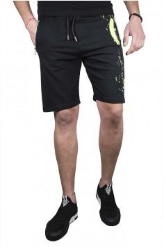 Къси спортни панталони в черно със зелен акцент