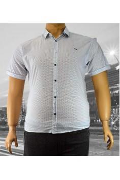 Стилна мъжка риза в бяло с интересен десен (от 3XL до 6XL)
