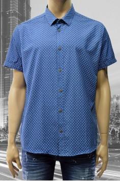 Стилна мъжка риза с къс ръкав в три цвята (от 2XL до 5XL)