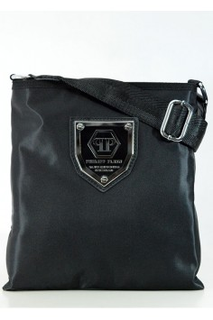 Мъжка чанта в два цвята с голяма масивна емблема