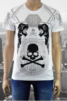 Модерна мъжка тениска в бяло с актуален принт