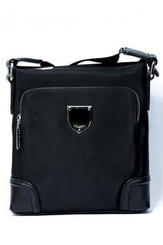 Стилна мъжка чанта с масивна емблема и кожени елементи