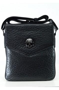 Стилна мъжка чанта от естествена кожа с череп
