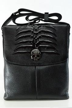 Модерна мъжка чанта от естествена кожа с череп