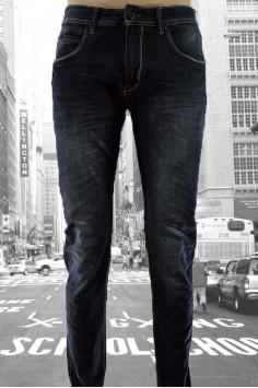 Уникални мъжки дънки от черен деним