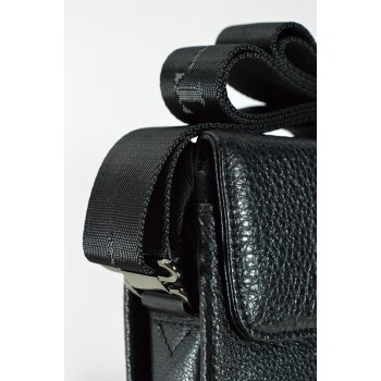 Стилна мъжка чанта от естествена кожа в черно