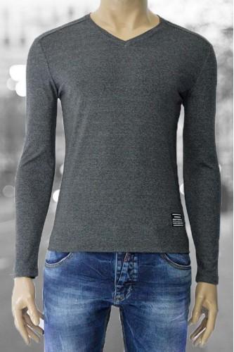Мъжка сива блуза с V- образно деколте