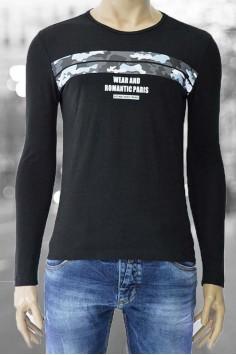 Мъжка трикотажна блуза с камуфлажен принт