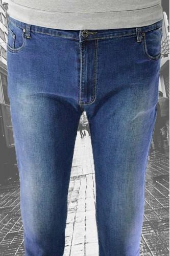 Мъжки дънки от син деним - големи размери