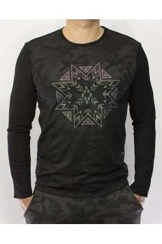 Мъжка трикотажна блуза с цветен принт