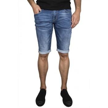 Изчистени сини къси дънки с обърнат подгъв