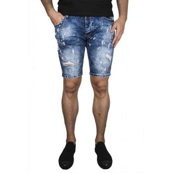 Къси сини дънки с бели кантове