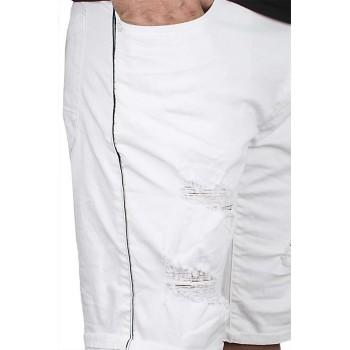 Къси бели дънки със странични кантове