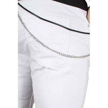 Бели къси дънки с ръчичка