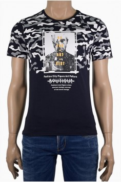 Мъжка тениска с камуфлажен принт