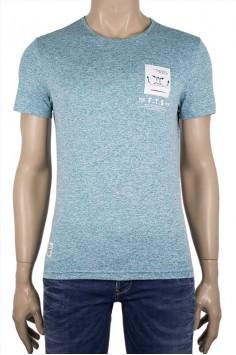 Мъжка вталена тениска с принт Очила